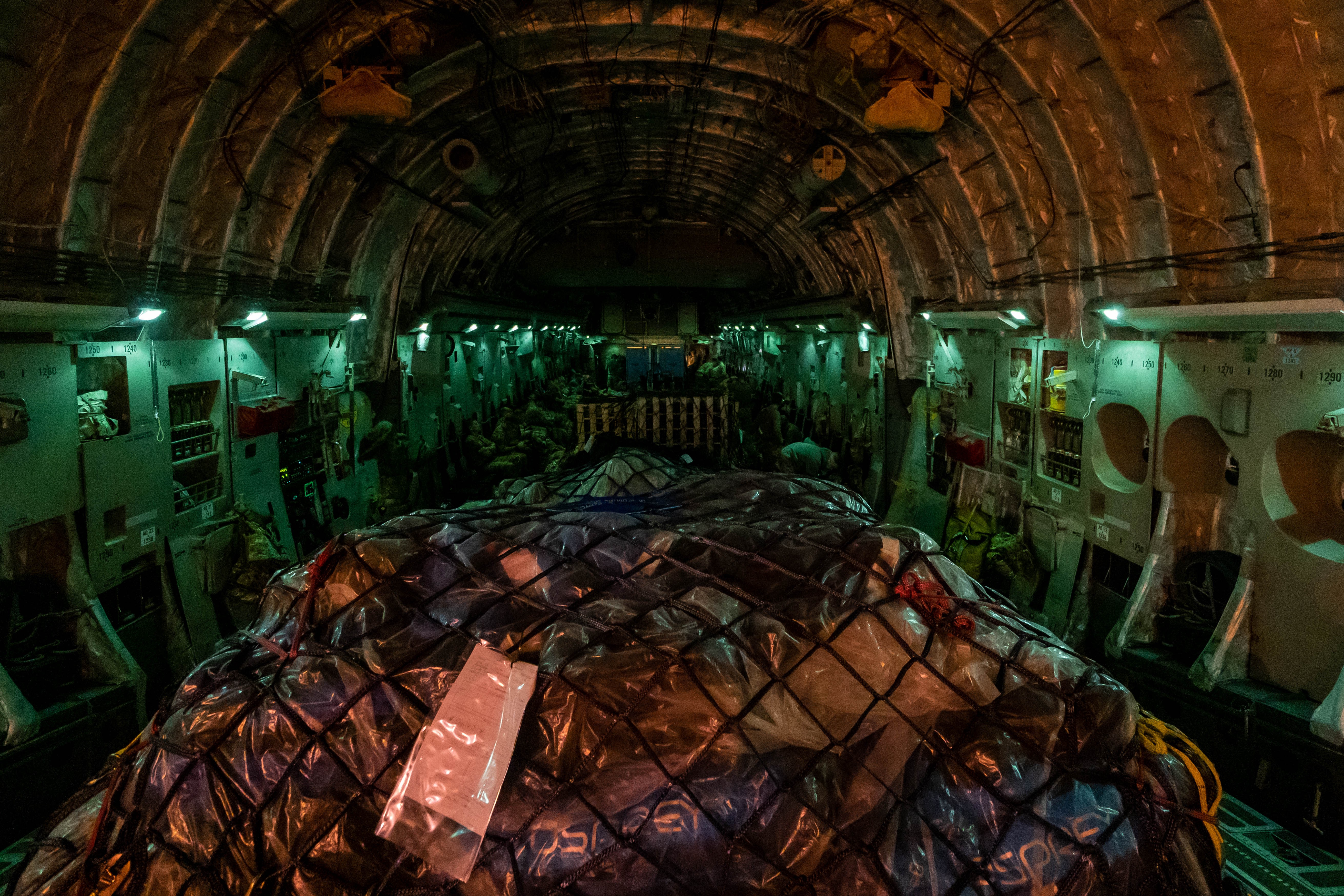Personnel and freight on board a RAF aircraft destined for Kabul