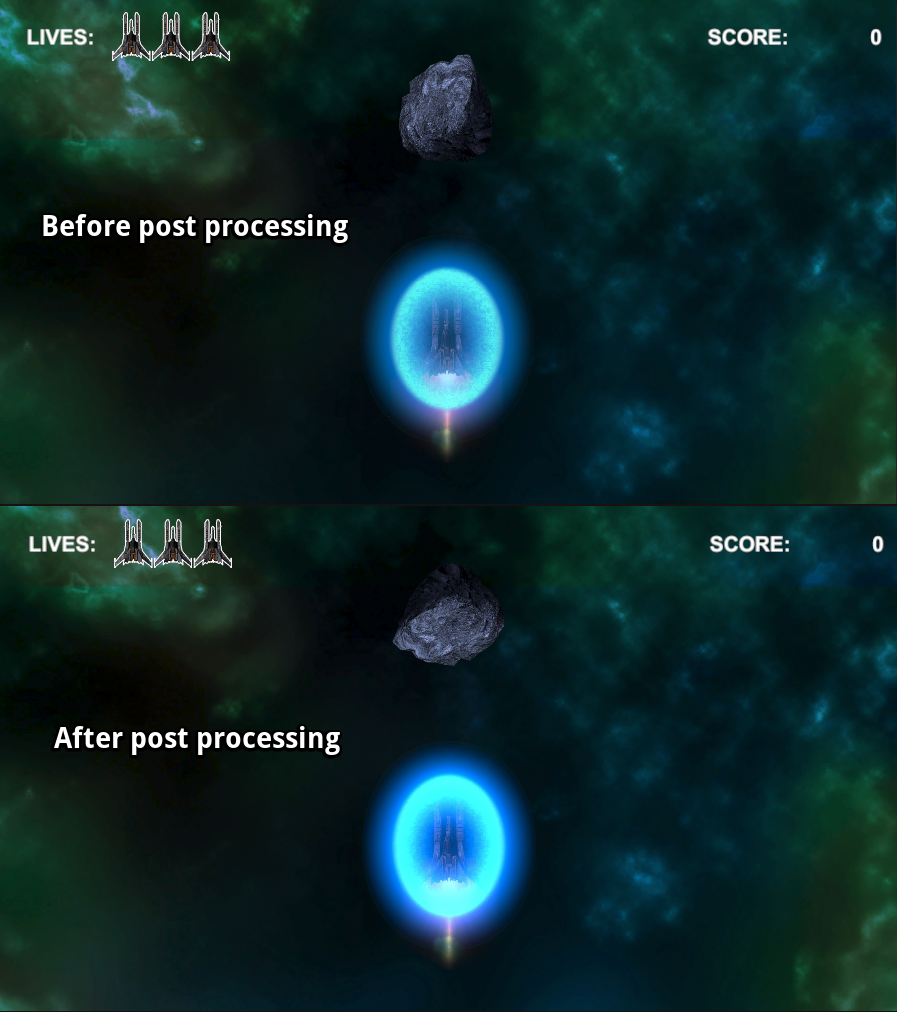 Shields before and after post processing