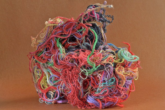 colored thread tangled