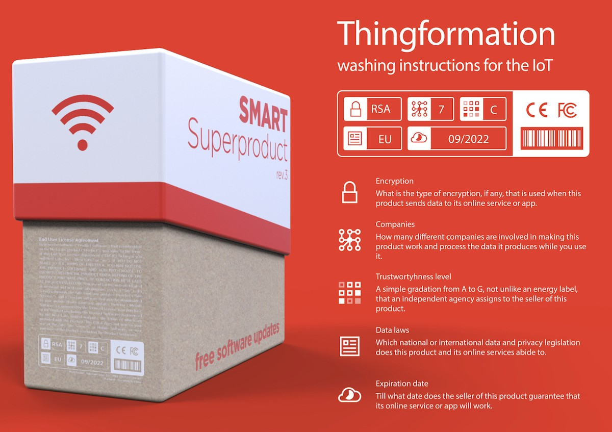 Thingformation. Speculative design by Beyond / IO for Just Things Foundation. IoT care labeling system.