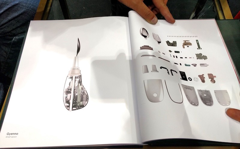 At Shenzhen Industrial Design Fair we saw this smart spoon. Note how it's transparent (and hence possible to see the inner workings), and the brochure shows a list of parts. Image: Peter Bihr (CC by-nc-sa)