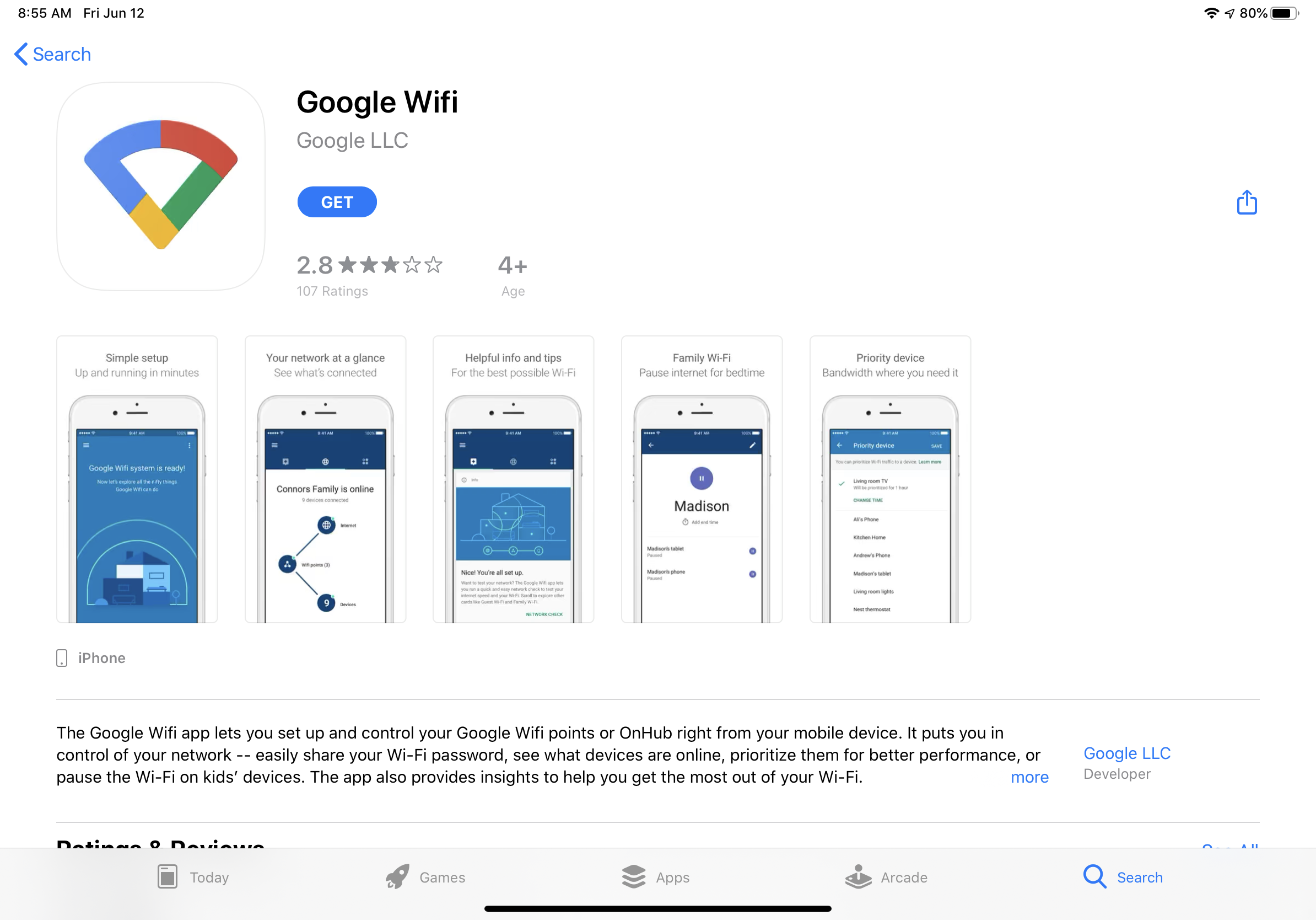 Google Wifi App Store page