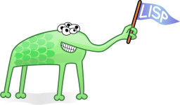 Imaginary green creature with five eyes and four legs holding a pennant with the work LISP written on it