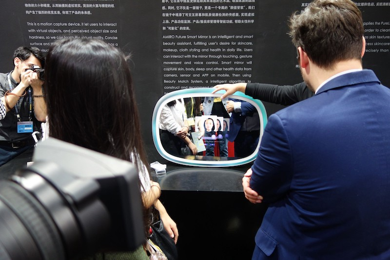 This smart mirror analyzes your skin and recommends make-up and skin care treatments. Shenzhen Industrial Design Fair, Nov 2016. Image: Peter Bihr (CC by-nc-sa)