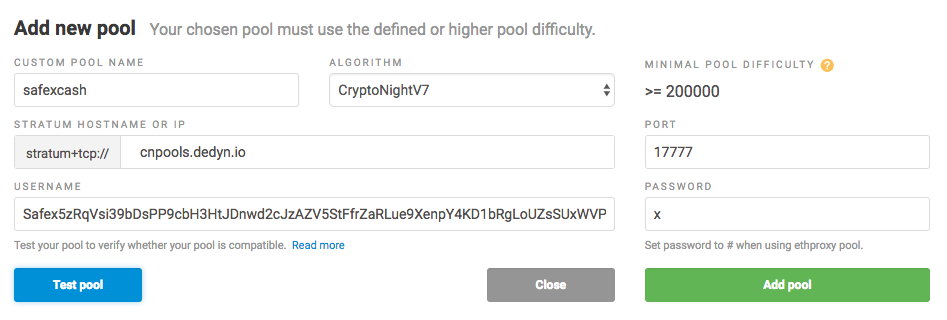 Pool mining SAFEX cash with rented hash power (Nice Hash)