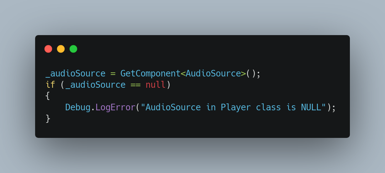 Caching and null checking our Audio Source