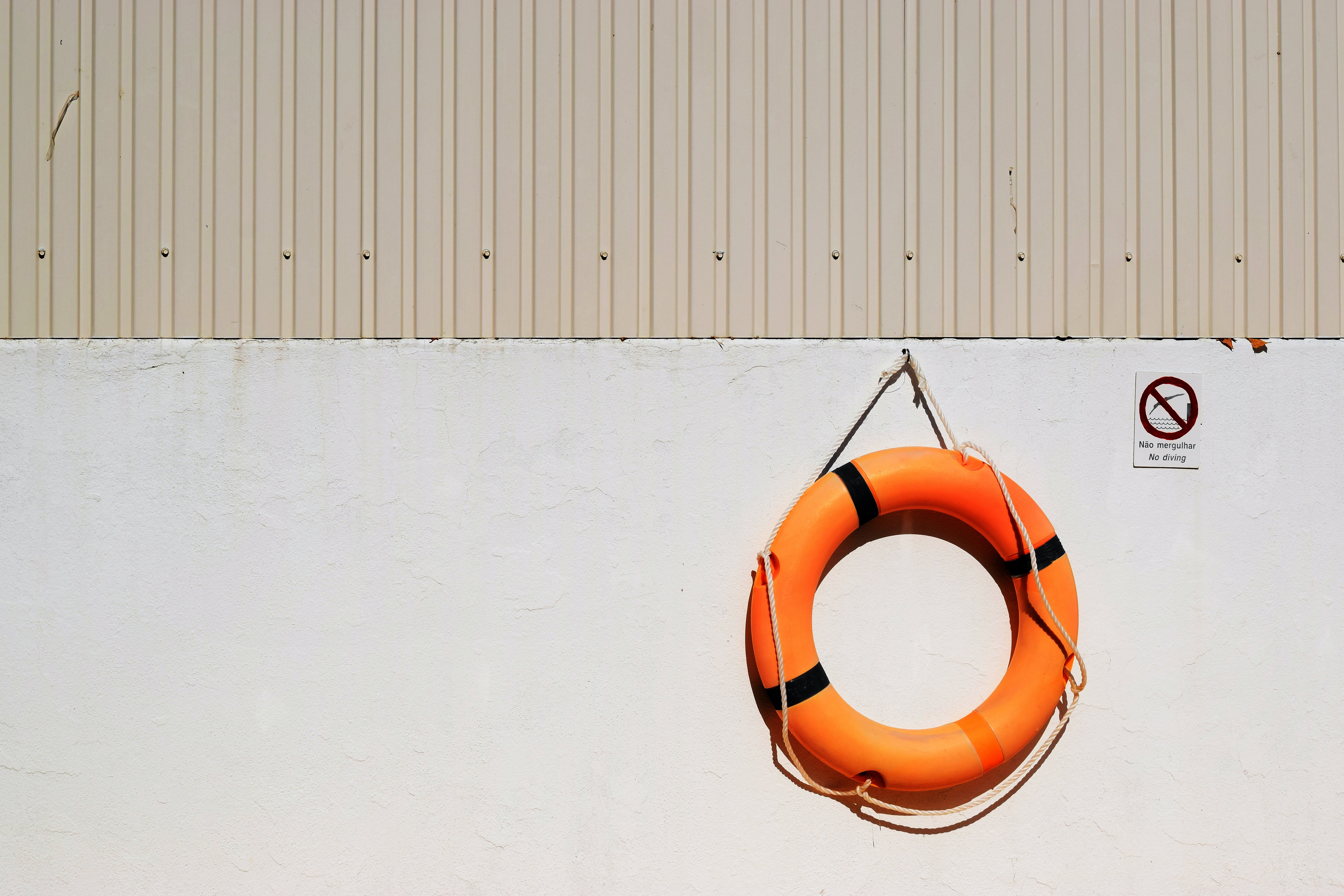 A lifebuoy hanging on a wall.