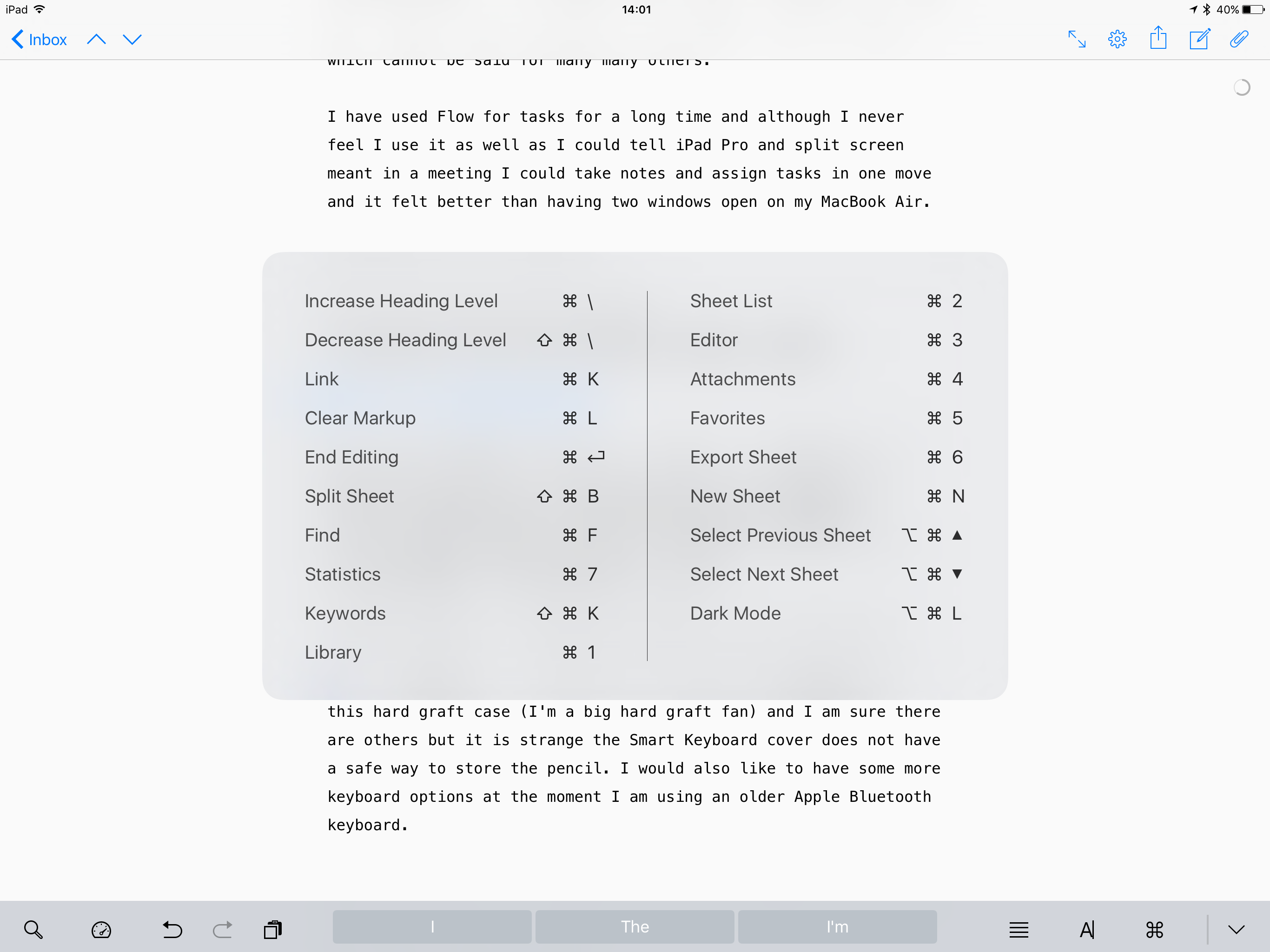 Holding CMD in Ulysses shows a number of shortcuts excellent UI